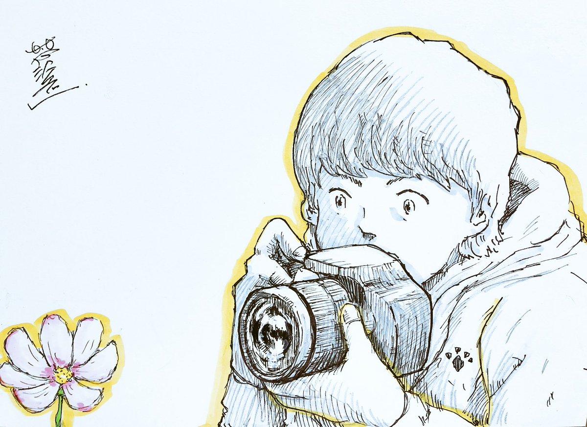 昨日配信で描いた、カメラ男子 https://t.co/GwJ98KvLqP