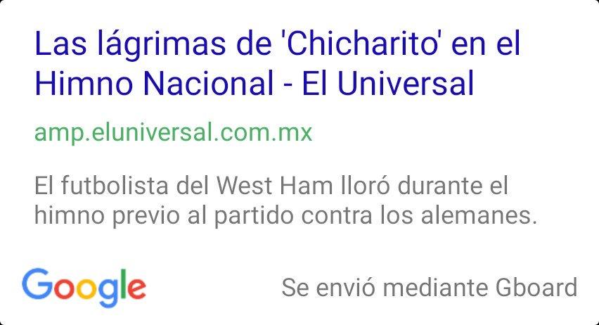 @RiicksTafarii https://t.co/05TIxdJVSK Las lágrimas de 'Chicharito' en el Himno Nacional - El Universal https://t.co/xmwmMC0aBY