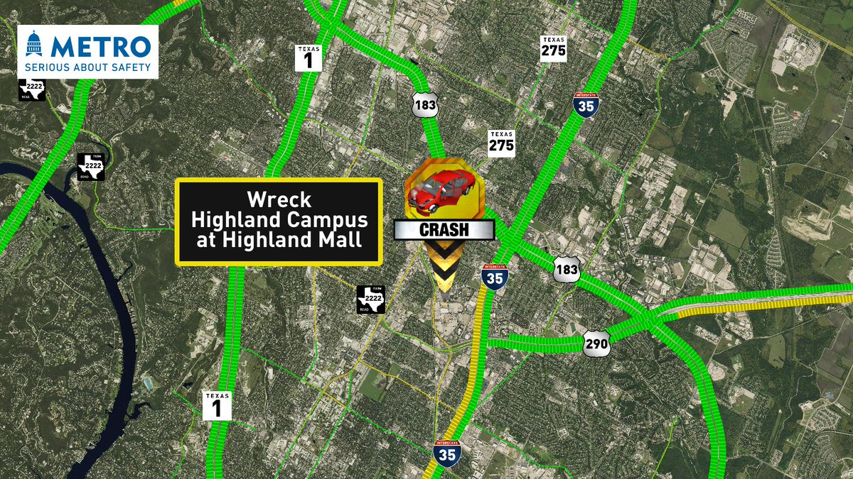 RT @cbsaustin: New wreck reported west of I-35 on Highland Campus at Highland Mall Blvd   #ATXTraffic https://t.co/BW33KrdQ03