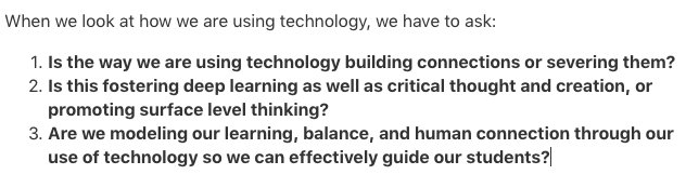 3 questions we should be asking when we talk about the use of technology in schools. #InnovatorsMindset https://t.co/MZ3H2ncue1