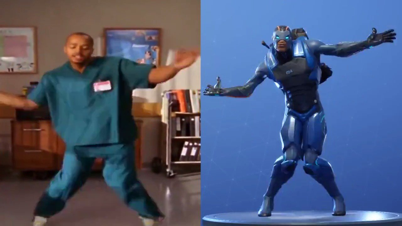 """Here's a side-by-side look at Scrubs' """"Poison"""" dance and Fortnite's popular emote. 👀 https://t.co/2U11Yvcekk"""