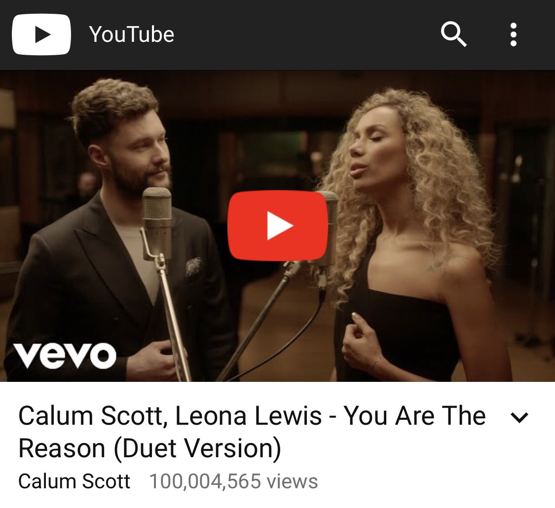 100 million views of #youarethereason on @YouTube @Vevo @calumscott you guys really are the best and I love you ???? https://t.co/r8CnLvc7Cu