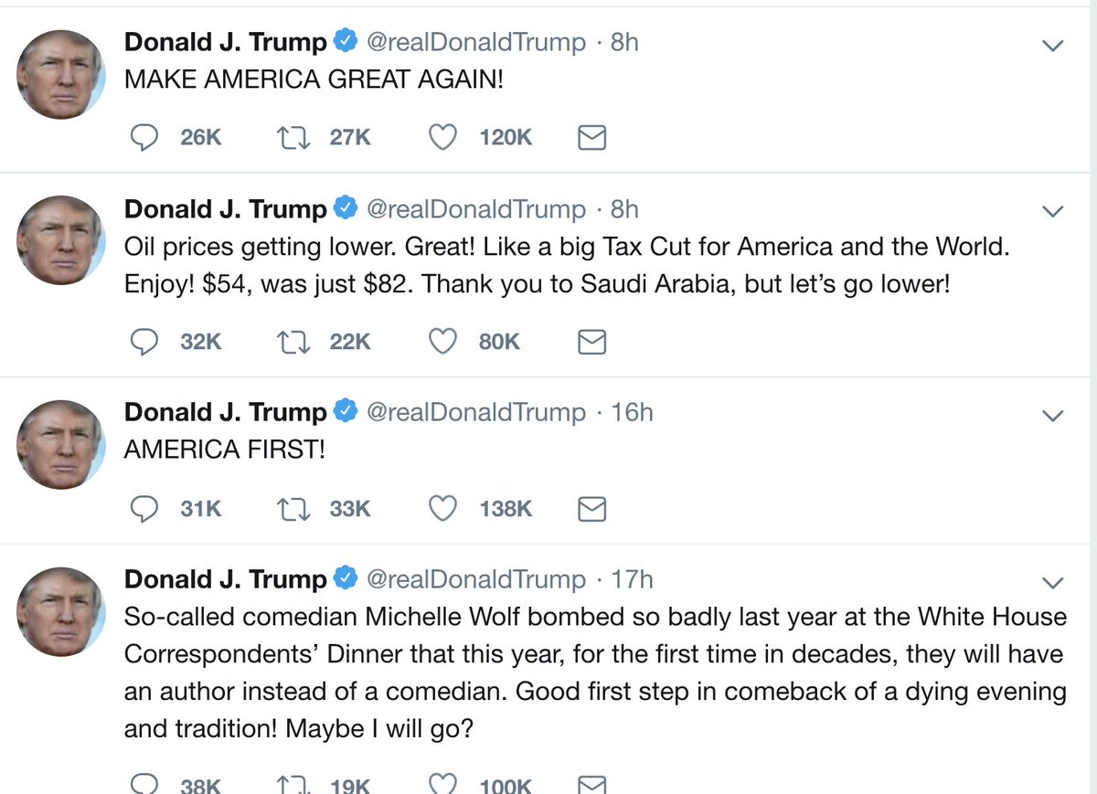 RT @mikiebarb: Sheesh. Quite a series of messages from our president. https://t.co/8Hc2ruTQnj