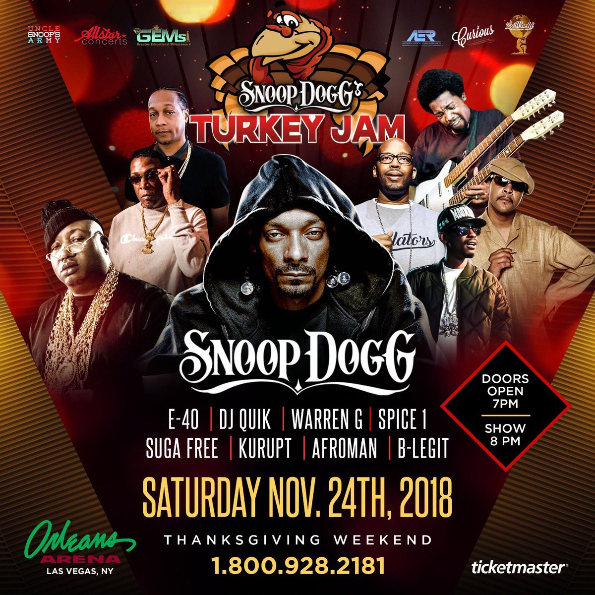 Las Vegas come kick it wit me n the homies this Sat at @orleansarena for the Snoop Dogg Turkey Jam! https://t.co/bNs2HBiIXe