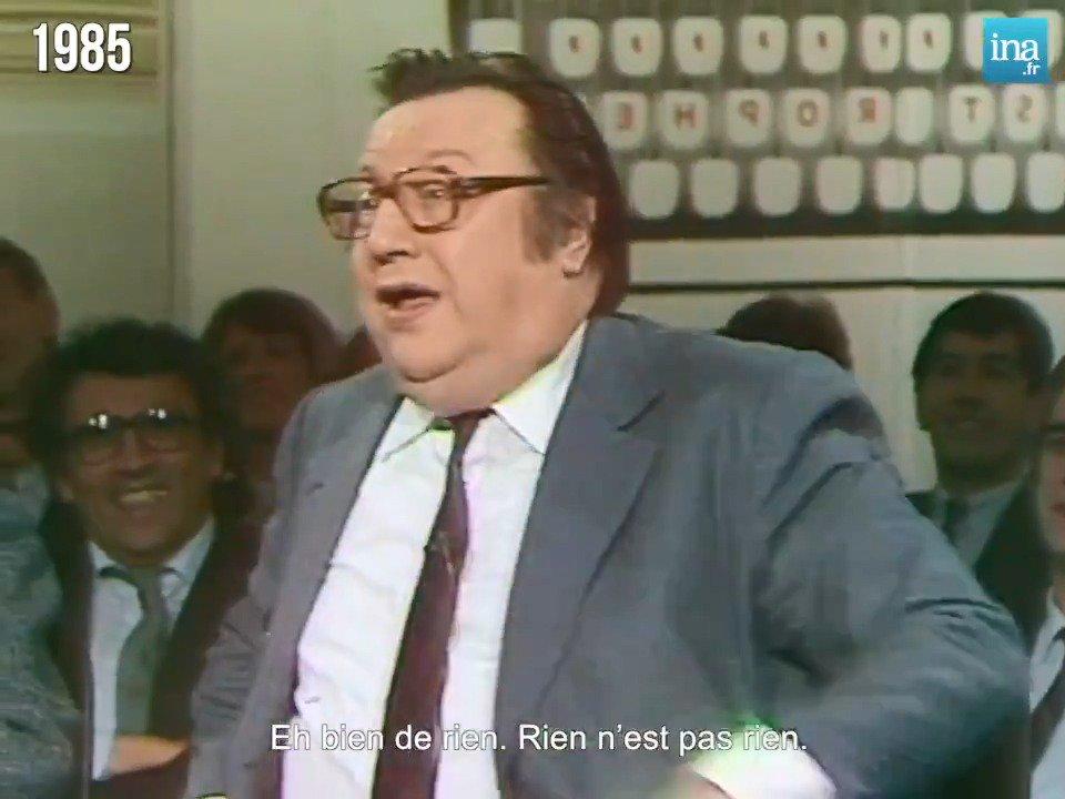 """""""Je vais parler pour ne rien dire !"""" Raymond Devos dans ses oeuvres sur le plateau d'Apostrophes - 1985 https://t.co/2YLChWrD9p"""
