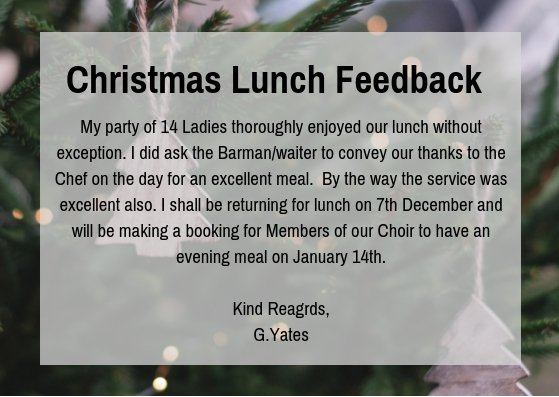 test Twitter Media - ⭐️At Cottrell Park we are so proud to have such amazing feedback from all of our Customers ⭐️  Thank you to Mrs Yates who left us this lovely comment after hosting her Christmas Lunch with us.  . #christmas #cottrellpark #feedback https://t.co/wRR13yxNRx