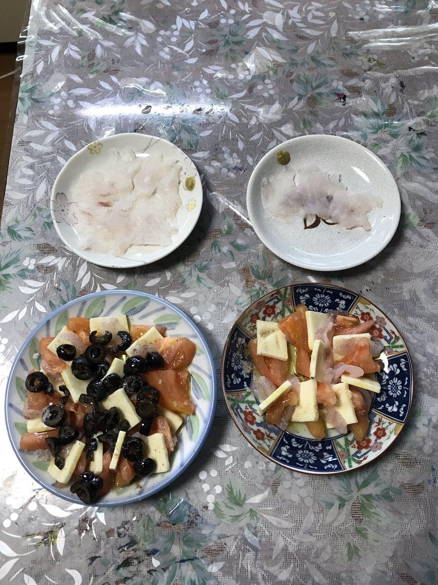 昨日のマゴチで刺身をシーバスでイタリアン風刺身サラダを作ってた。今は唐揚げとチーズで飲んでます https://t.co/GNR11zDQDZ