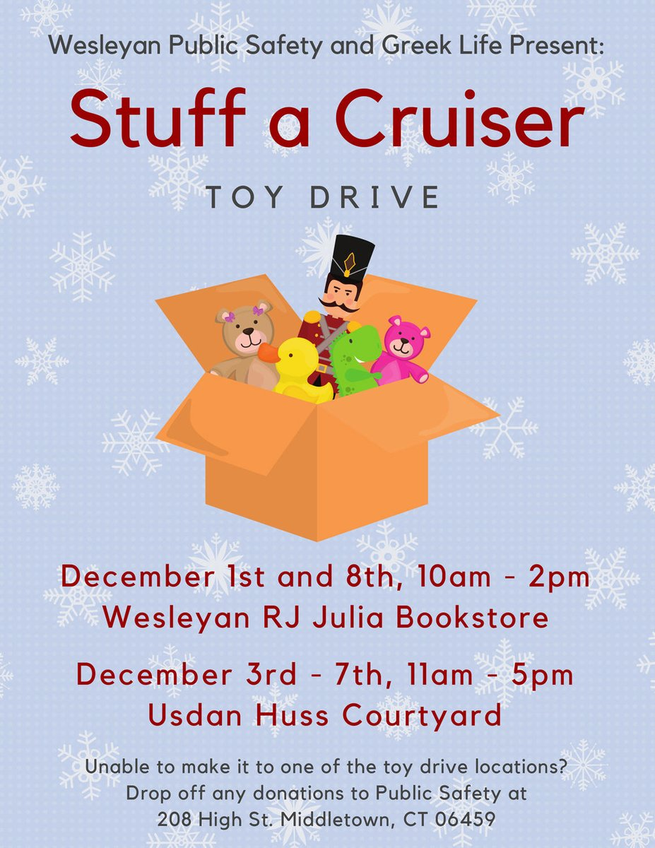test Twitter Media - Pay it forward this holiday! Wesleyan Public Safety, @wesrjjulia, and Greek Life are collecting new toys. Drop them off today @wesrjjulia between 10am-2pm! https://t.co/NJNbZOFNpt