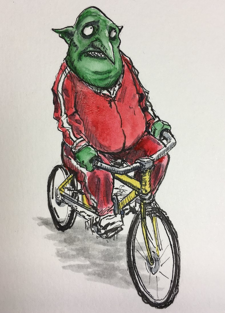 Let's name this bicycling goblin drawn by @olmsteadkirk.   Who has a suggestion??   https://t.co/CvKVslVu6K https://t.co/nF3a8bfTOf