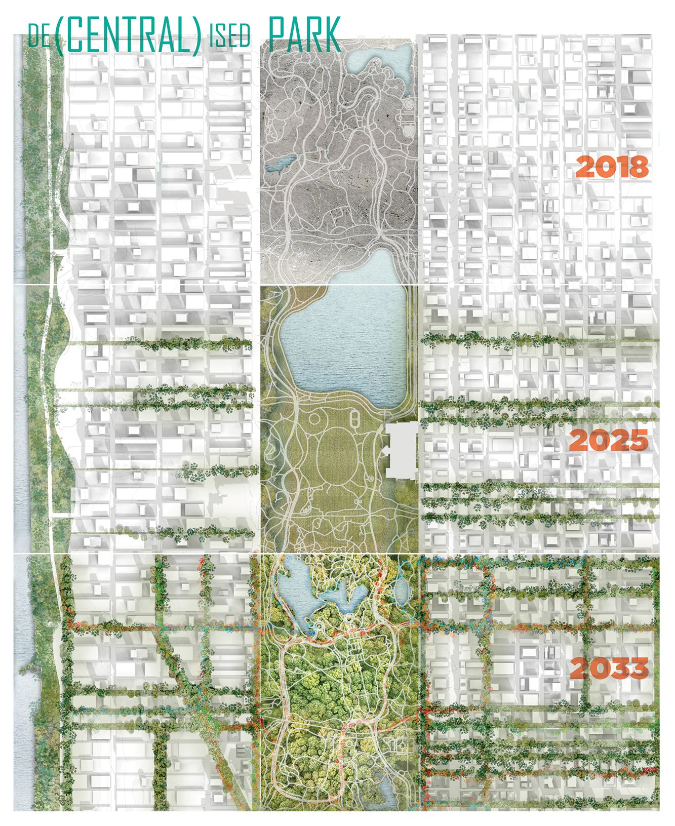 """LA+ICONOCLAST winner 4/5 - The """"De-Centralized Park"""" concept proposes to let the park rewild over time & to extend the park into all its connected streets. These green streets are made possible by a driverless rideshare system (Joe Rowling, Nick McLeod + Javier Arcila, Australia) https://t.co/v80Vk1szVh"""