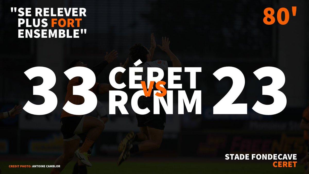 #CSRCNM | LIVE-SCORE  C'est terminé au stade FONDECAVE !  #RCNM #RUGBY...