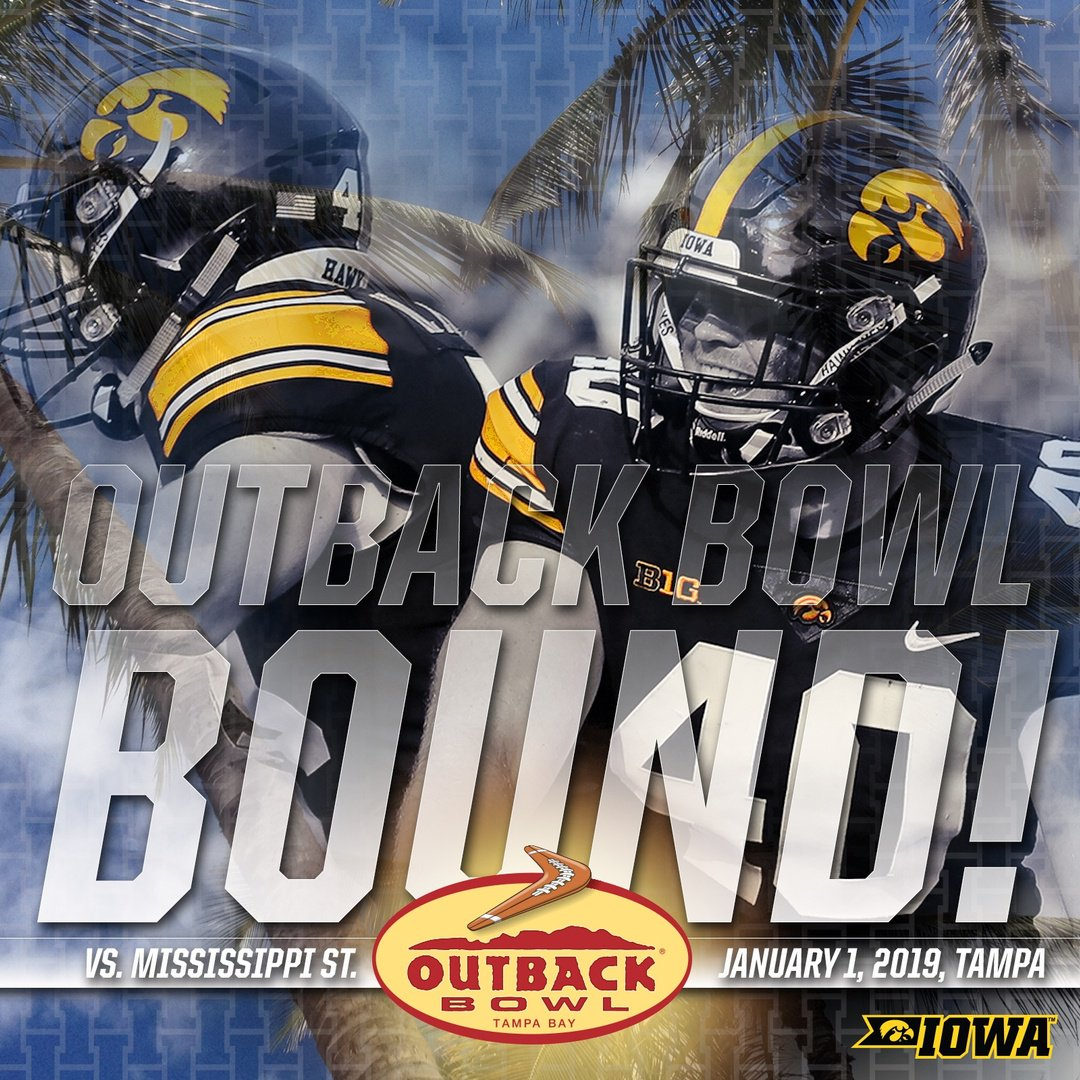 The @HawkeyeFootball team is headed to Florida for the Outback Bowl! #FightForIowa Join us in Tampa for #FootballinParadise☀️  🏈 Bowl Central:  👉 Release: