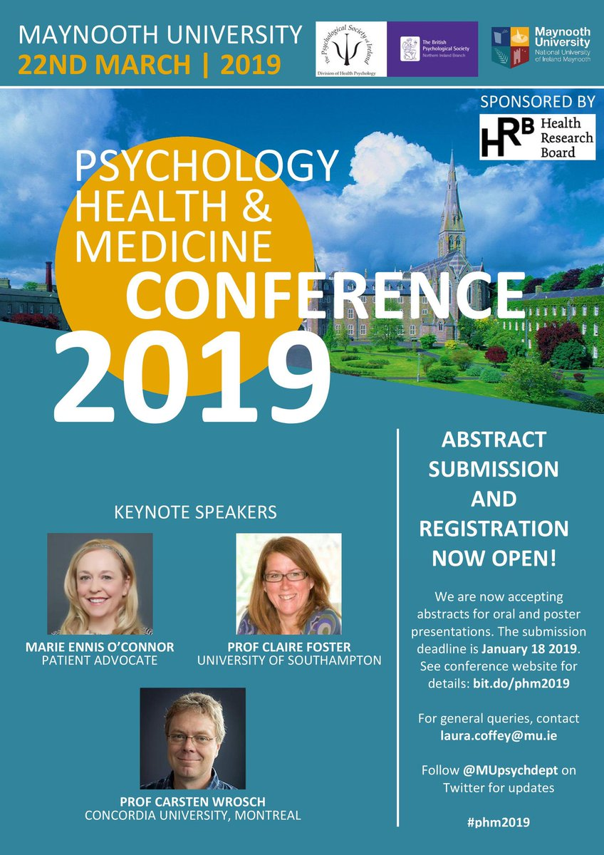 test Twitter Media - ABSTRACT SUBMISSION AND REGISTRATION NOW OPEN for @PSI_DHP @DHPNI Psychology Health & Medicine Conference, taking place @MUpsychdept on 22 March 2019. Sponsored by @hrbireland w/ keynotes from @JBBC @ClaireFosterW & Prof Carsten Wrosch @Concordia #phm2019 https://t.co/8S9cFuww3w https://t.co/CJIbJeRwD9