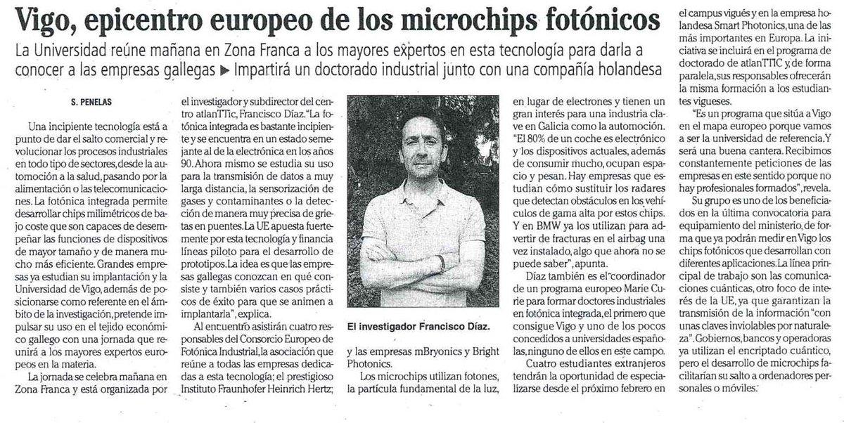 test Twitter Media - Vigo, epicentro europeo de los microchips fotónicos  La @uvigo reúne mañana en @zonafrancavigo a los mayores expertos en esta tecnología para darla a conocer a las empresas gallegas.  https://t.co/6lQJ9xUP4B https://t.co/b42j6SRVQr