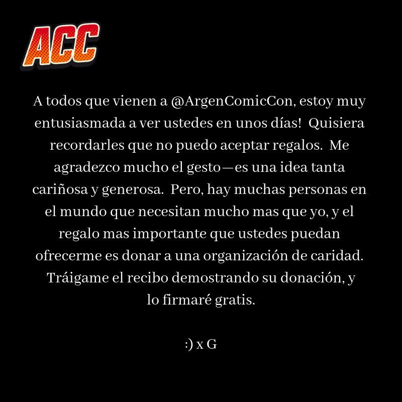 A todos que vienen a @ArgenComicCon / To everyone coming to @ArgenComicCon... https://t.co/3mm4fftfhl