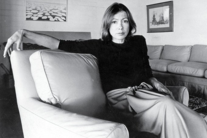 """I am what I am. To look for reasons is beside the point.\""""  Happy birthday to Joan Didion!"""