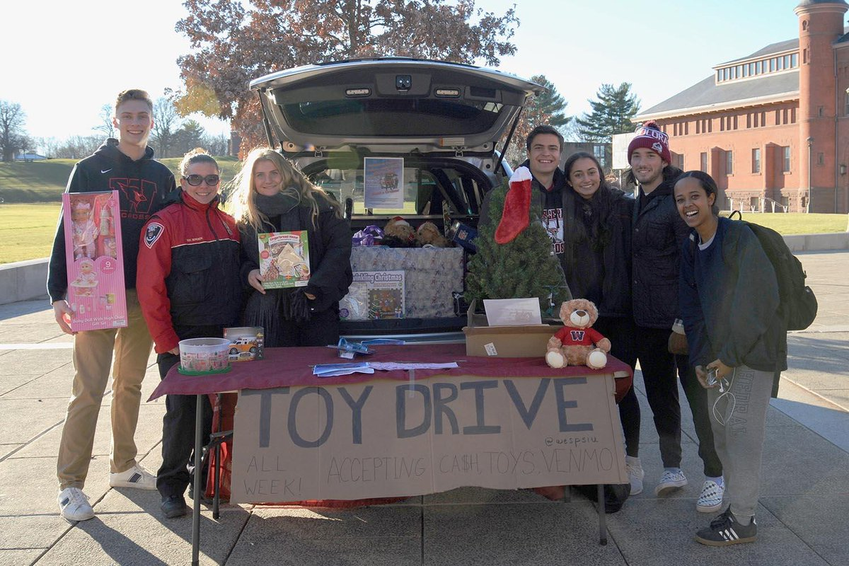 test Twitter Media - Want to give to those less fortunate this holiday season? Stop by the Wesleyan Public Safety + Greek Life Toy Drive behind Usdan from 11am-5pm today & tomorrow to drop off toys!  (Photos by Alexa Jablonski '22) https://t.co/Bq1Qhna4PB