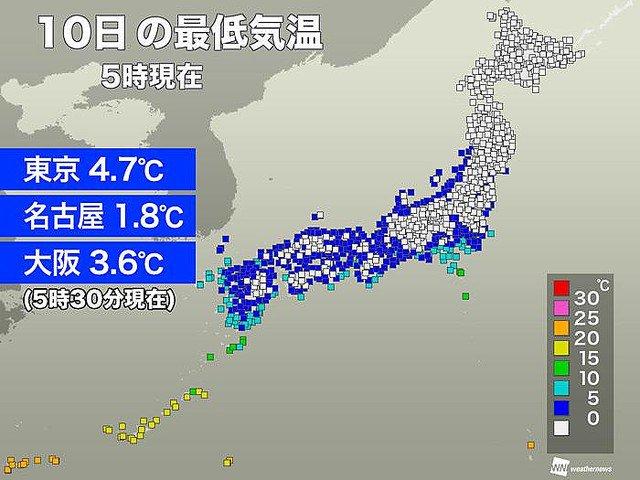 test ツイッターメディア - 【寒波】東京、名古屋、大阪などで今季一番の寒さ https://t.co/Jc1fZBLyg9  東京では5時30分までの最低気温が4.7度に。名古屋1.8度、大阪3.6度などで、最も冷え込んだ根室中標津は-22.3度となった。 https://t.co/JMxP3y1iv7