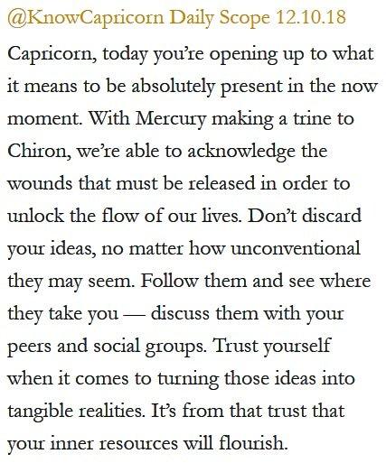 Daily Horoscope for #Capricorn 12.10.18 ️♑❤️✨ #Horoscope #Astrology #TeamCapricorn #KnowTheZodiac https://t.co/ZSd5z51fYO