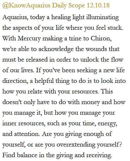 Daily Horoscope for #Aquarius 12.10.18 ♒️❤️✨ #Horoscope #Astrology #TeamAquarius #KnowTheZodiac https://t.co/2y82XY7jfl