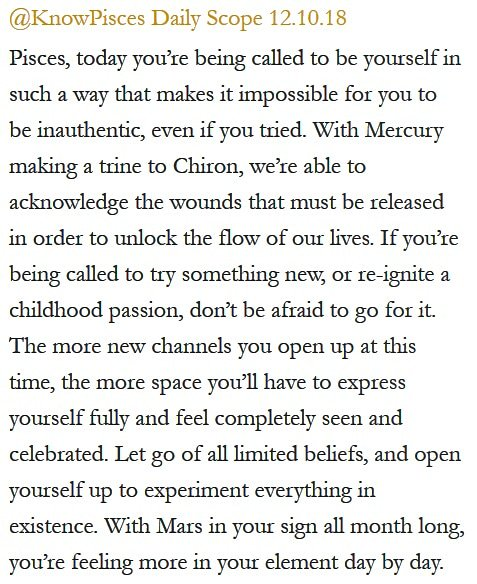 Daily Horoscope for #Pisces 12.10.18 ♓❤️✨ #Horoscope #Astrology #TeamPisces #KnowTheZodiac https://t.co/EjnCIC25dm