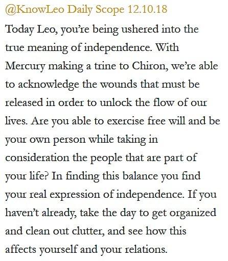 Daily Horoscope for #Leo 12.10.18 ♌️❤️✨ #Horoscope #Astrology #TeamLeo #KnowTheZodiac https://t.co/fgSCxab7Ys