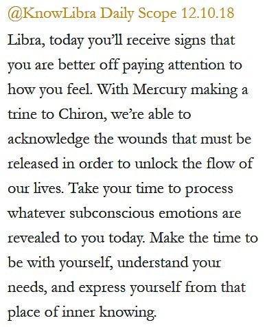 Daily Horoscope for #Libra 12.10.18 ♎❤️✨ #Horoscope #Astrology #TeamLibra #KnowTheZodiac https://t.co/fOyzkhTb4z