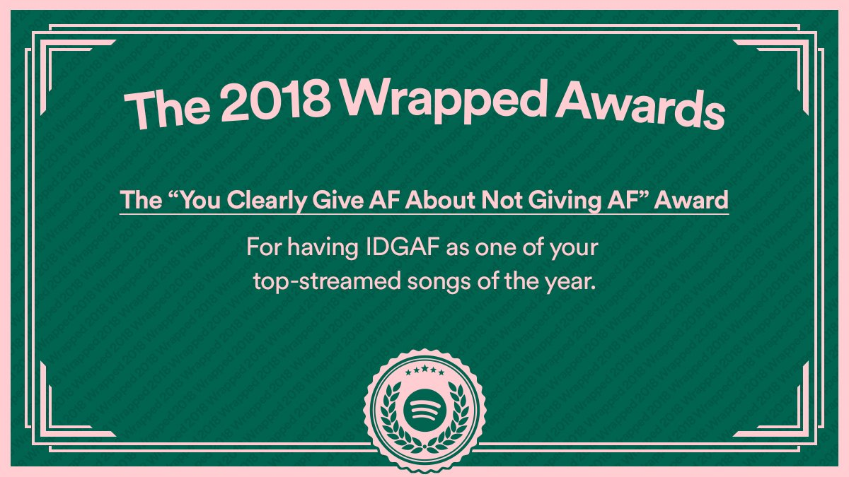 @ekhagandahan To say we're impressed with your listening this year would be an understatement. #2018Wrapped https://t.co/y7oRnOLaah