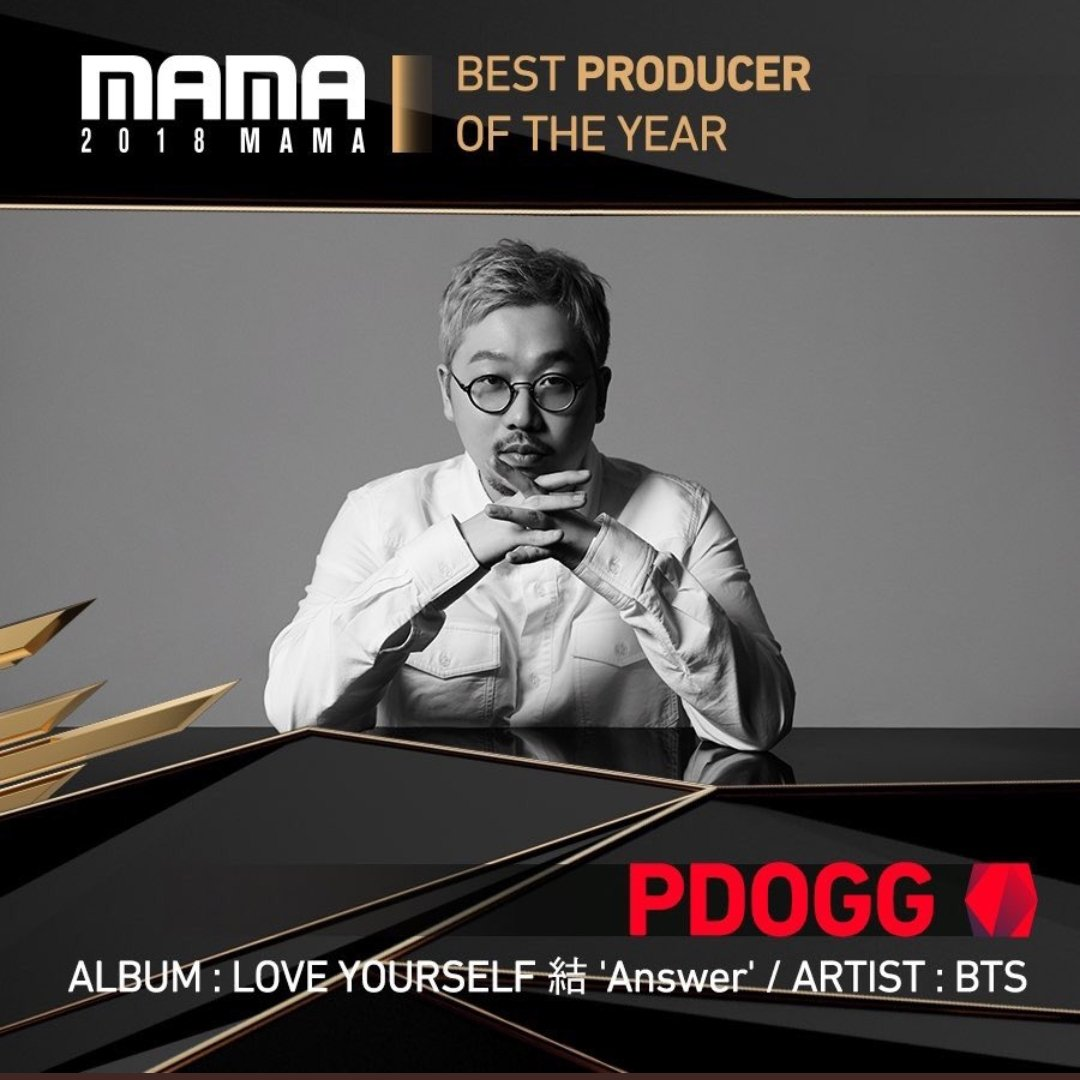RT @pddogg: 2018 MAMA BEST PRODUCER OF THE YEAR !! 감사합니다 https://t.co/d7q36H2rR0