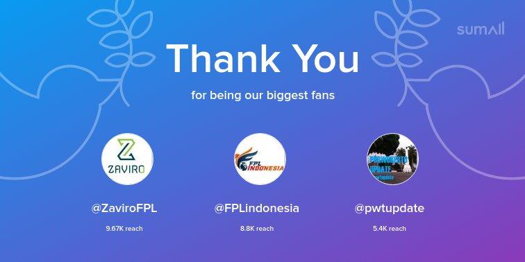 Our biggest fans this week: @ZaviroFPL, @FPLindonesia, @pwtupdate. Thank you! via https://t.co/rV7uU6zEdh https://t.co/JZXKJwauVH