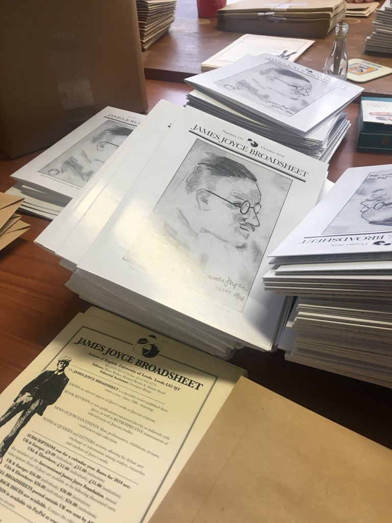 A busy day in the Broadsheet office as we send out #JJB111 to our subscribers. We'll be tweeting the contents list later today. #JamesJoyce #modernism @LeedsUniEnglish https://t.co/pkEhCtRMwh