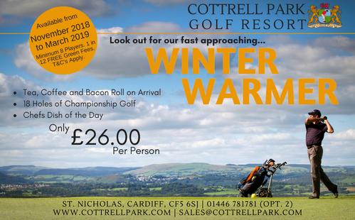 test Twitter Media - WINTER WARMER 🏌️‍♂️  Looking to celebrate the New year with a group of Friends and round of Golf.  Our Winter Warmer package has everything you need for ONLY £26 PP   To Book; T: 01446 781781 Opt2 E: sales@cottrellpark.com . . #golf #newyear #2019 https://t.co/5cgtfkbkU1