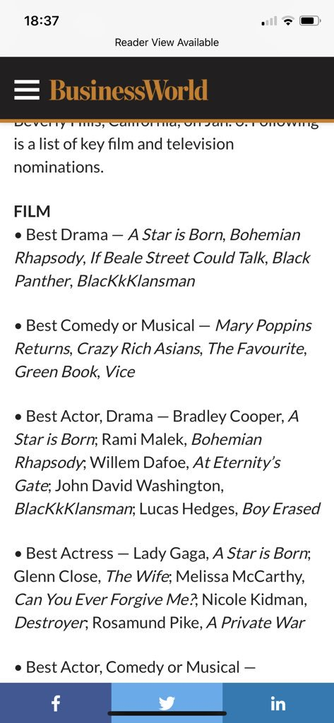 """Lmao don't know why #ToniCollette wasn't nominated for best actress for """"Hereditary"""" but moving on 🙄 https://t.co/adxrHXAe1t"""