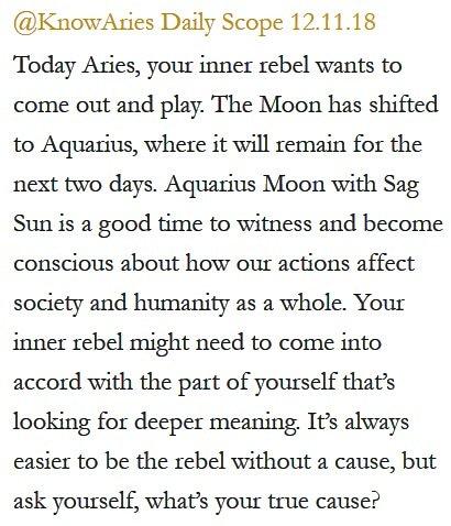 Daily Horoscope for #Aries 12.11.18 ♈️❤️✨ #Horoscope #Astrology #TeamAries #KnowTheZodiac https://t.co/u3JUldGfYt