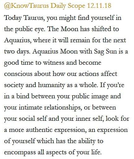Daily Horoscope for #Taurus 12.11.18 ♉️❤️✨ #Horoscope #Astrology #TeamTaurus #KnowTheZodiac https://t.co/xHxST33028