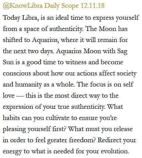 Daily Horoscope for #Libra 12.11.18 ♎❤️✨ #Horoscope #Astrology #TeamLibra #KnowTheZodiac https://t.co/qW1y50Pjz5