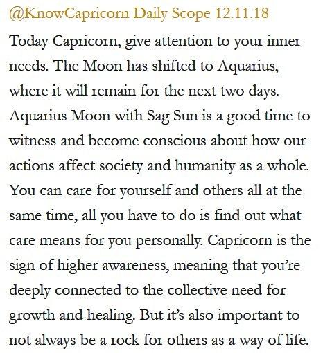 Daily Horoscope for #Capricorn 12.11.18 ️♑❤️✨ #Horoscope #Astrology #TeamCapricorn #KnowTheZodiac https://t.co/6QKfFDWwaV