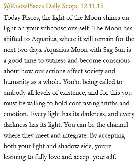 Daily Horoscope for #Pisces 12.11.18 ♓❤️✨ #Horoscope #Astrology #TeamPisces #KnowTheZodiac https://t.co/HWQ33Rhp5u