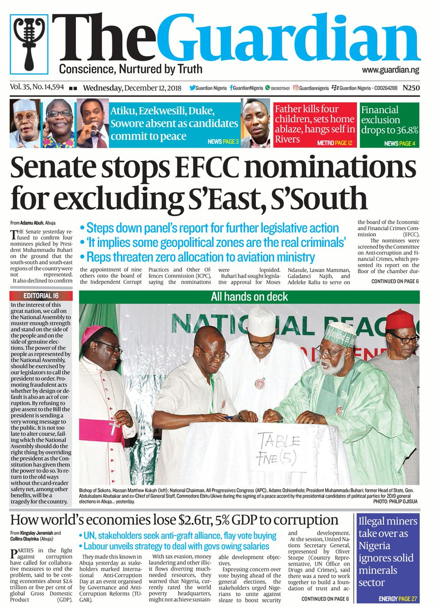 test Twitter Media - Today in The Guardian – Senate stops EFCC nominations for excluding Southeast, Southsouth. Get a copy. #FrontPage #Headline #Business #Politics #Sports #Pilgrims #Nigerians #Entertainment #News #Nigeria #Africa #TheGuardianNg https://t.co/nd32gsh6GT