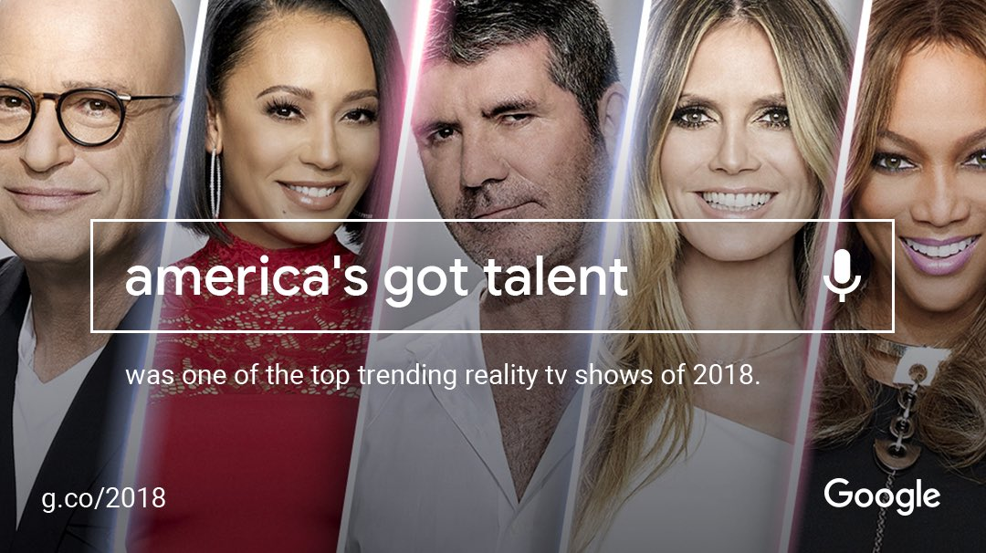 .@AGT is one of the top trending reality shows of 2018! Thank you to our amazing fans ???? #YearInSearch https://t.co/ci2i7v2u7x
