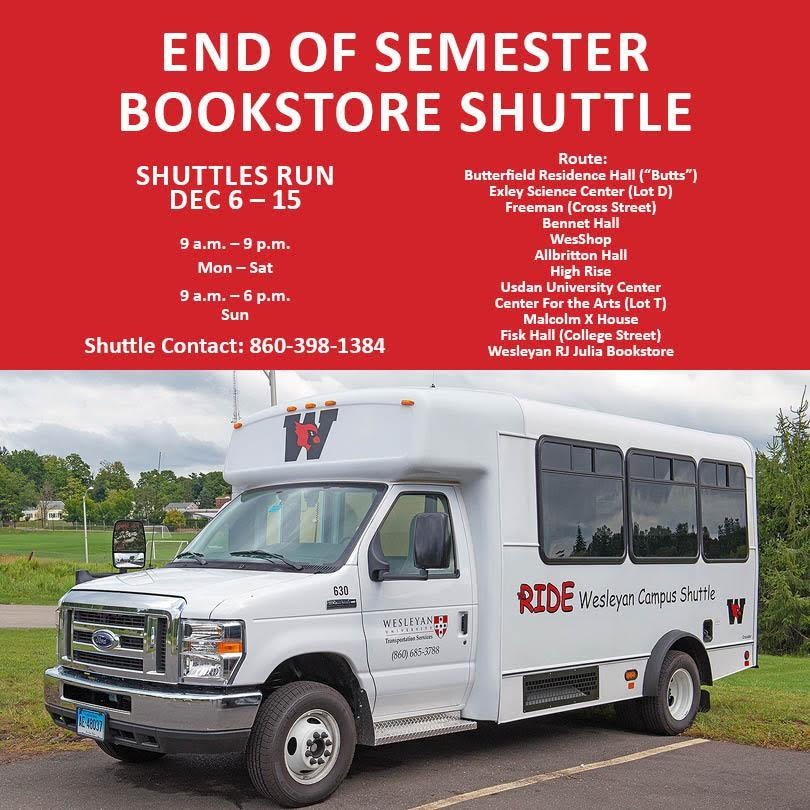 test Twitter Media - Need a ride? Hop on the Bookstore Shuttle for all of your finals needs! Stopping at The Butts, Exley Lot D, Freeman (@ Cross St) Bennet, WesShop, Albritton, High Rise, Usdan, CFA Lot T, Malcolm X House, Fisk, and @wesrjjulia! Happy finals, Wes! 📚 https://t.co/qPHcf3BfrL