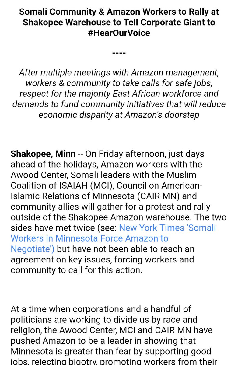 RT @msainat1: Organized Amazon Workers in Minnesota are rallying this Friday https://t.co/lC0lWW6OAg