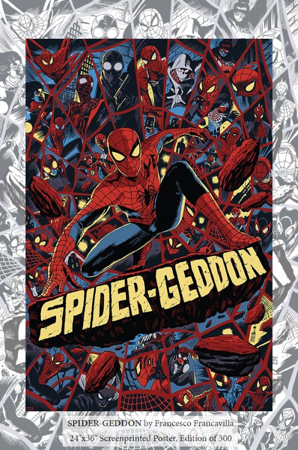 """test Twitter Media - SPIDER-GEDDON! My var cover for the sold out #NYCC exclusive is now a big 24x36"""" screenprinted poster on sale tomorrow from @MondoNews! Almost 40 iterations of @Marvel's @SpiderMan (including the Spider-Buggy) went into making this poster :)  Follow Mondo's feed for drop tomorrow https://t.co/40yt6CrCKH"""
