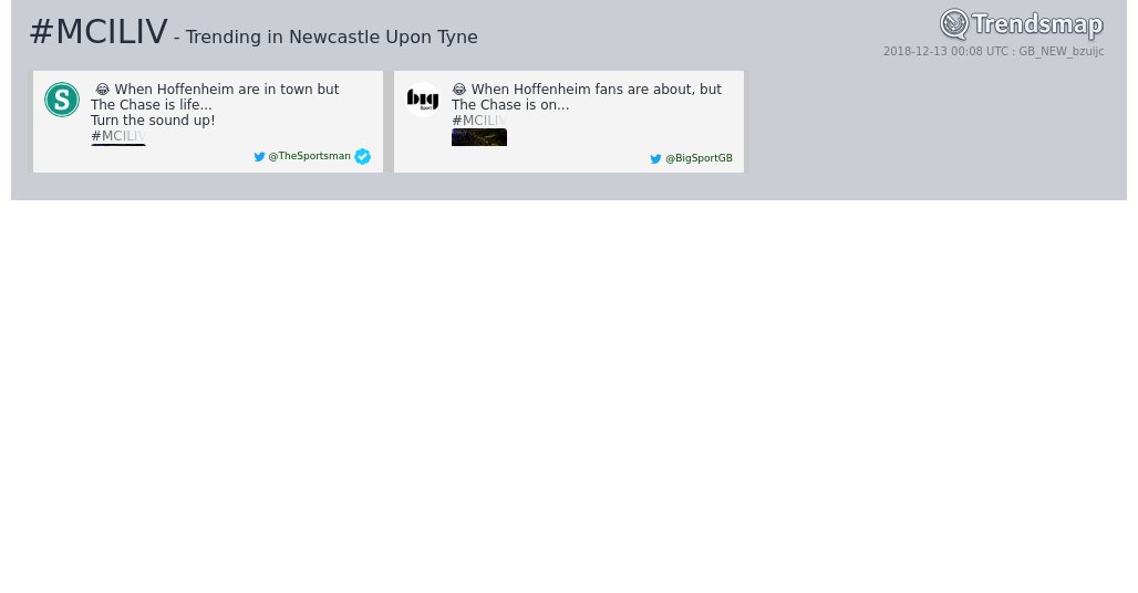 #mciliv is now trending in #NewcastleUponTyne  https://t.co/qaoGheGsTu https://t.co/UiFO8nLU4n