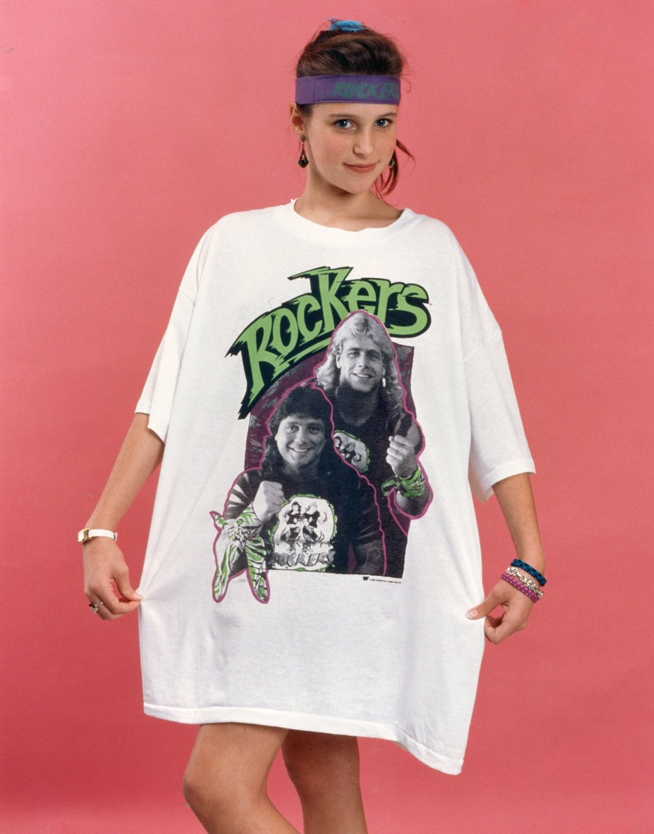 RT @StephMcMahon: My first job at @WWE was modeling merch! Did anyone else have this awesome Rockers tee??? #TBT https://t.co/dopSYzhfyK