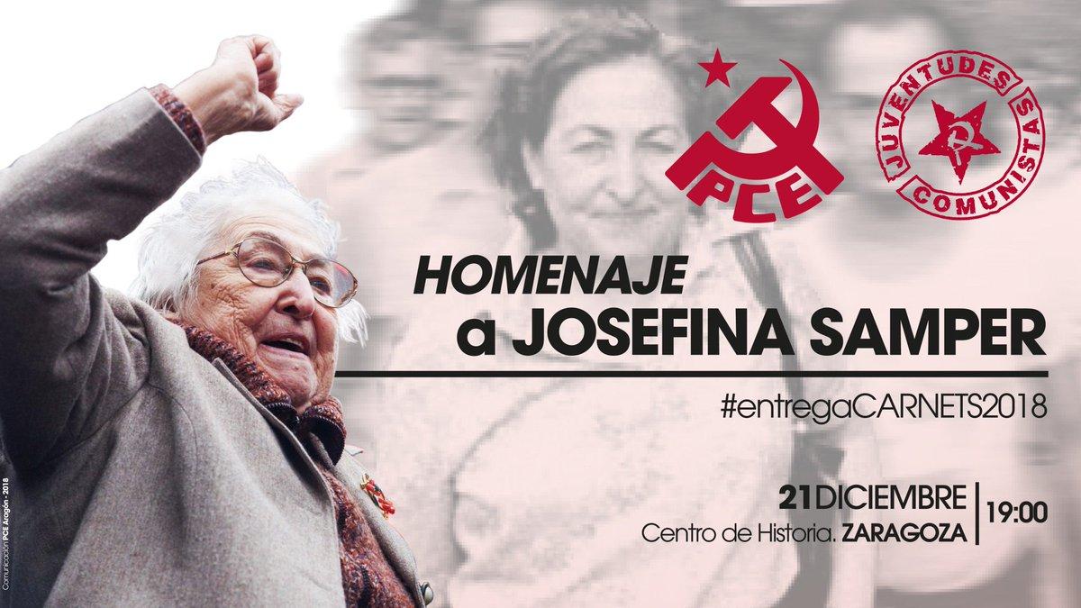 HOMENAJE A JOSEFINA SAMPER 📆 viernes 21 diciembre ⏰ 19:00 📍 Centro de Historias (Pza S. Agustín) Zaragoza https://t.co/HX87vZDk0S