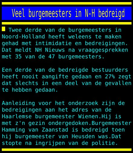 test Twitter Media - Veel burgemeesters in N-H bedreigd https://t.co/iA7fNTi0kX