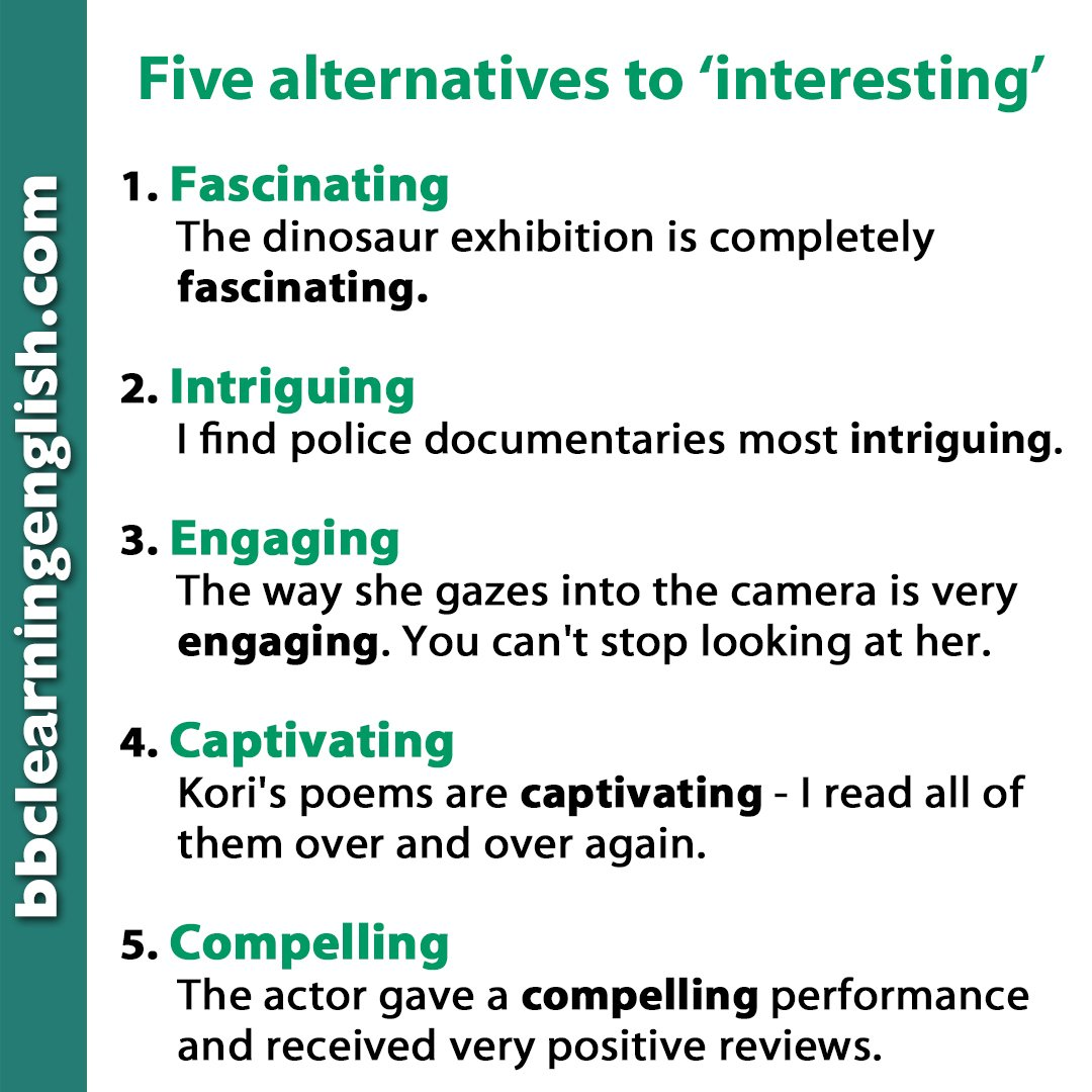 What's the most #intriguing thing you've learnt this week? 🤔 Could it be these 5 alternatives to #interesting? You'll be even more #engaging when you speak if you can use these words! 😎  #otherwaytosay  #learnenglish #vocabulary #vocab #elt #esl #words #useful https://t.co/fQL45GAjsl