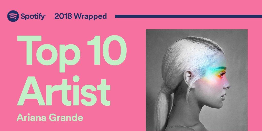 RT @RepublicRecords: .@Spotify's Top 10 Artist = @ArianaGrande  #2018wrapped https://t.co/Lnbi8U4W2Q