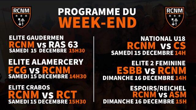 PROGRAMME DU WEEK-END   Programme chargé ce week-end pour nos équipes !  Les...